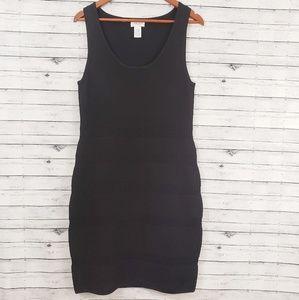 Carmen Marc Valvo   Black Scuba Knit Dress Sz L